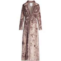 Rosie Assoulin Notch-lapel velvet coat ($998) ❤ liked on Polyvore featuring outerwear, coats, jackets, coats & jackets, light purple, velvet coat, button coat, brown coat and rosie assoulin