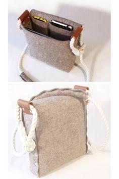 Felt Messenger bag with cotton rope strap Medium satchel by Rambag