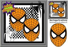Super hero orange masks with black and white spiders 8x8 on Craftsuprint - Add To Basket!