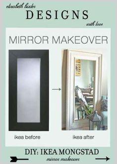 diy molding on a modern ikea mirror