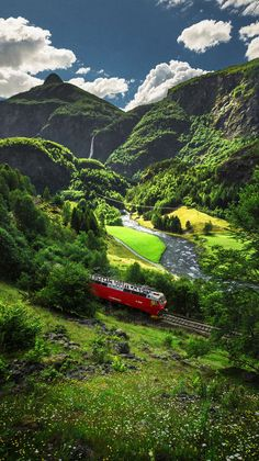 Flåm Railway, Norway: This is one of the steepest railroad lines in Europe! And it goes through some of the most scenic countryside! It is in western Norway near the Bergen area. Places Around The World, The Places Youll Go, Places To See, Around The Worlds, Wonderful Places, Beautiful Places, Beautiful Pictures, Beautiful Scenery, Beautiful Norway