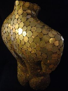 Copper coins and fibreglass Garden Or Yard / Outside and Outdoor sculpture by artist David Corbett titled: 'Bent Copper (nude Male Torso Chest Copper Coins statues)'