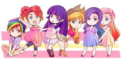"My Little Pony6 by ~tate-ya on deviantART <<<>>> This is probably my favorite ""humanization"" of the girls ever..."
