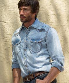 Ryan Michael Sun Washed Embroidered Denim Shirt at Maverick Western Wear