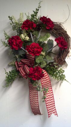 Red Geraniums with Chevron Bow
