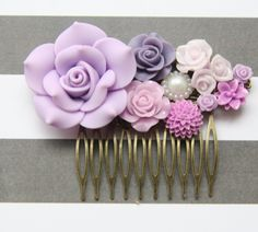 Cabochon utopia bridal bride hair pin comb romantic vintage flare affair modern o so purple pearl flowers antique victorian filigree by AdoredByYou on Etsy
