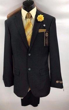 Men's Caravelli 2 Piece Gray Pinstriped Suit Flat Front Pants Sizes 36R - 42L #Caravelli #TwoButton