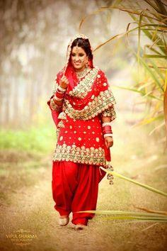 Red Bridal Patiala Suit