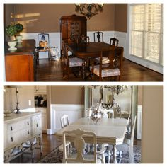 My mahogany dining room before and after Annie Sloan chalk paint.
