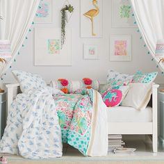 Hampton Daybed + Trundle from PB Teen Blue Teen Girl Bedroom, Teen Girl Bedrooms, Big Girl Rooms, Attic Bedrooms, Trundle Mattress, Mattress Sets, Pb Teen, Girls Daybed, Hamptons Bedroom