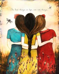 """True friendship does not mean being inseparable; it means being separated NOTHING changes."" Art by Claudia Tremblay Best Friend Drawings, Bff Drawings, Mothers Day Drawings, Claudia Tremblay, Sibling Gifts, Sisters Art, Three Sisters, Sister Gifts, Siblings"