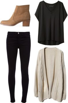 Cream sweater, grey tee, black jeans, brown booties.
