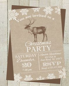 Rustic Reindeer Holiday Party Invite Burlap by themilkandcreamco Rustic Reindeer Holiday Party Invite, Burlap And Snowflakes Christmas Party Invite, Printable Invite, Reindeer Holiday Invite
