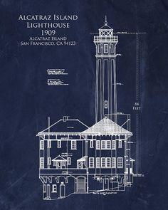 Chrysler building in new york blueprint by blueprintplace on etsy alcatraz print featuring the digital art alcatraz island lighthouse by sara harris malvernweather Gallery