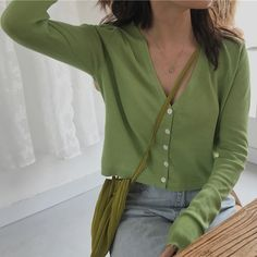 Green minty lime matcha aesthetic shirt tees shoes summer winter spring Korean fashion ulzzang fashion green overalls all green green fashion green outfits Korean Outfits, Trendy Outfits, Cute Outfits, Fashion Outfits, Green Cardigan Outfit, Cardigan Outfits, Knit Cardigan, Green Sweater, Suit Jackets For Women