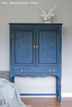 The Weathered Door: A deep blue milk paint cabinet old fashioned milk paint soldier blue