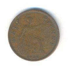 Vintage Coin George V Half Penny 1929 Code: by JMCVintagecards