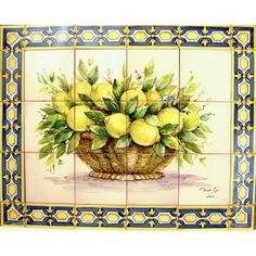 Basket of Lemons Mosaic Tile Designs, Mosaic Tiles, Dale Chihuly, Floor Ceiling, Tile Murals, Kitchen Dishes, Food Pictures, Decoupage, Projects To Try