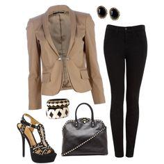Tan Gucci Blazer and Black Pants