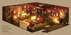 奥のせまい部屋は書斎となっております
