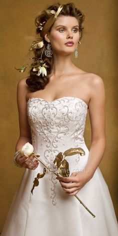 $700 Satin and Beaded Wedding Dresses by Camille La Vie-image