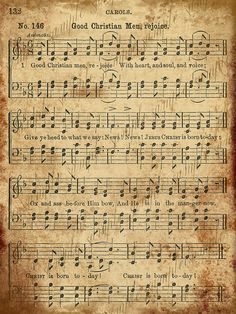 Vintage Christmas Sheet Music | Grungy Aged Vintage Christmas Carol Music Digital Sheet INSTANT ...