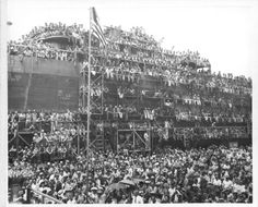 Evansville Shipyard - 1944. The crowd for the launching of ship 100.  My husbands father was a welder on the ships