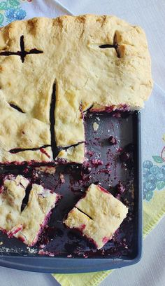 Blueberry Slab Pie. Made in a 10x14 jellyroll pan.Blueberries are a favorite for both Mother's Day and Memorial Day recipes.