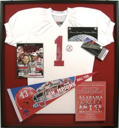 Bradleys custom framed-Signed Jersey & Rose Bowl Memorabilia