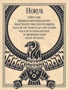 Horus Falcon Shaman Poster Prayer Animal Spirit Guide Art Egyptian Wicca | eBay