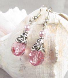 Pink Swarovski Crystal Earrings, Handmade, Bride or Bridesmaid, Harleypaws, SRADJ by Harleypaws on Etsy https://www.etsy.com/listing/155691293/pink-swarovski-crystal-earrings-handmade