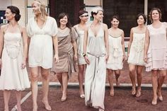 {Wedding Trends} The Great Gatsby Inspired Wedding Ideas The Great Gatsby bridesmaid dresses ideas-think flapper styles or dropped waist dresses. Great Gatsby Wedding, 1920s Wedding, Wedding Trends, Wedding Designs, Wedding Ideas, 1920s Bridesmaid Dresses, How To Dress For A Wedding, Bridal Fabric, Bridesmaids And Groomsmen