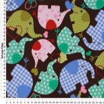 Fleece - Baby Elephants on Chocolate Brown Fleece Fabric Item# 3623410