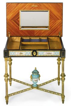 A fine Louis XVI style gilt-bronze mounted Sèvres style ceramic decorated dressing table<br>Paris, late 19th century | lot | Sotheby's