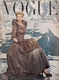 British Vogue February 1945 Girl is shot in front of a painting of realistic flowers. Description from pinterest.com. I searched for this on bing.com/images