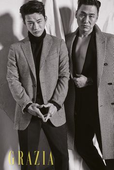 Actors Seo In Guk and Oh Dae Hwan, who are co-stars in the upcoming drama 'Shopping King Louie', are featured in the latest issue of 'Grazia' magazine, where they showcase their masculine charms in fall apparel and slicked back hair. Asian Actors, Korean Actors, Grazia Magazine, Seo In Guk, Korean Entertainment, K Idol, Korean Celebrities, Well Dressed Men, Asian Style