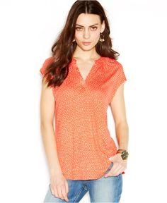 Lucky Brand Printed Knit Top - Tops - Women - Macy's
