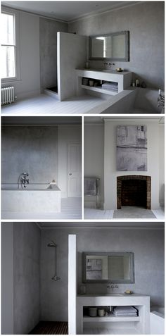 Love the painted floorboards and blank canvas - Beautiful White, London Victorian Terrace House owned by Photographer, Paul Massey Victorian Terrace House, Victorian Homes, Edwardian Bathroom, Painted Floorboards, Build My Own House, Concrete Bathroom, Tadelakt, Bathroom Inspiration, Bathroom Ideas