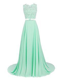 Dressystar Damen Chiffon Spitze Lang Formell Abendkleider Brautjungfernkleider Mintgrün in Größe 36