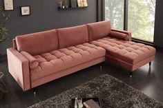 Luxusná rohová sedačka staroružová. Xxl Sofa, Sofa Couch, Canape D Angle Design, Couleur Rose Pastel, Banquettes, Corner Couch, Couch Design, Angles, Velvet Sofa