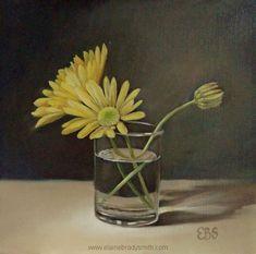 Still Life in Oils, Paintings by Elaine Brady Smith. Still Life in Oils, Daily Paintings Still Life Oil Painting, Chrysanthemum, Daisies, Glass Jars, Paintings, Yellow, Plants, Image, Margaritas