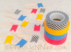 Set of 12 Racing Themed Cupcake Topper by PhotoJeNNicCreations. Perfect for Hot Wheels or a Monster Truck birthday party.
