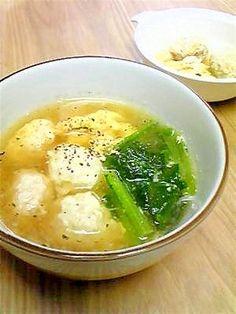 「ふんわり玉子で☆ふんわり鶏団子スープ」ふんわり鶏団子は離乳食にもどうぞ。【楽天レシピ】