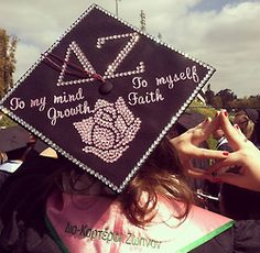 Graduation | Delta Zeta | To my mind growth #rose decorated grad cap #sororitysugar #bedazzled #rhinestones