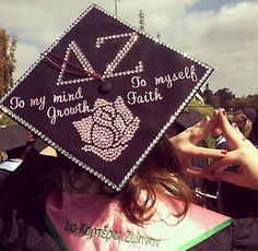 Graduation | Delta Zeta | To my mind growth #rose decorated grad cap #sororitysugar #bedazzled #rhinestones