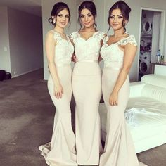Light Pink V Neck Lace Bodice Bridesmaid Dress With Cap Sleeve Mermaid Wedding Party Dress 2016