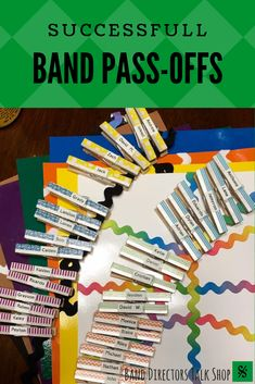 What are band pass-offs? If you've ever heard of things like band karate, sticker charts, points games, etc, then you're familiar with the concept. It's a predetermined set of assignments you choose (you could use scales, lines from the method book, anything!), and your students work to perform them for you at their own pace to demonstrate mastery. Click here for ideas and tips on how to implement a band pass-off program and see how it really motivates your band students… Middle School Music, High School Band, Music Lesson Plans, Music Lessons, Music Theory Games, Music Games, Cristian Daniel, Band Rooms, Sticker Chart