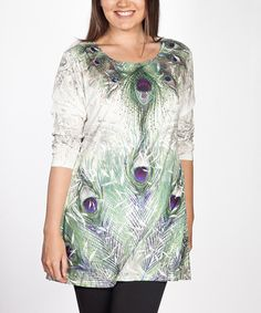 Creation Collection Green Rhinestone Peacock Tunic - Plus