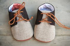 Brown baby boy shoes, corduroy oxfords sneakers crib booties, newborn flats, infant slippers, light brown chevron fabric shoes