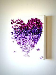 Purple Ombre Classic Butterfly Heart/ 3D Butterfly Wall Art /